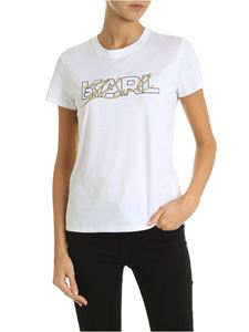Karl Lagerfeld - Double logo T-shirt in white