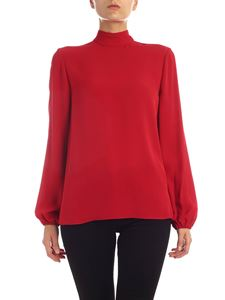 Theory - Red silk blouse with puff sleeve