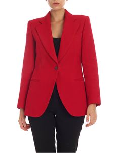 Theory - Red cotton blazer with notch lapels