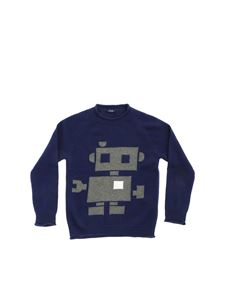 Il Gufo - Blue pullover with green inlay