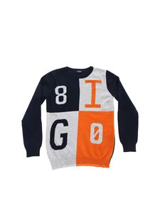 Il Gufo - Gray and orange blue pullover with inlays