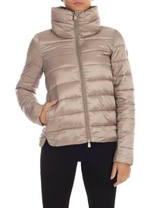 Save the duck - Logo down jacket in dove grey color