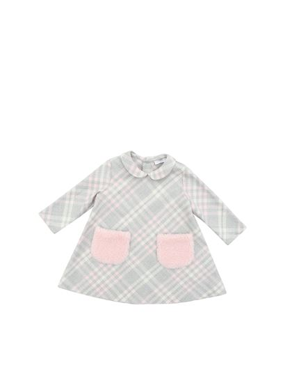 Il Gufo - Gray and pink checked dress with pink pockets