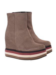 Paloma Barceló - Ankle boot in taupe color with inner wedge and platform