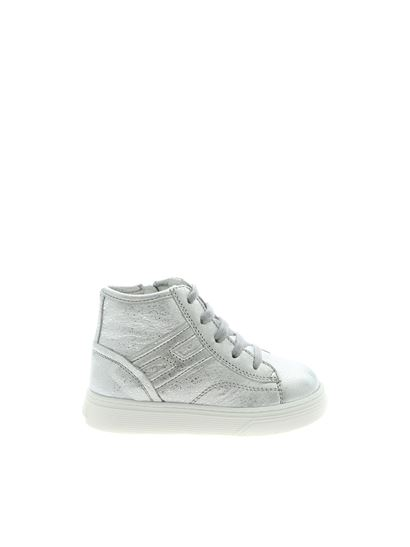 Hogan Junior Fall Winter 19/20 silver hammered leather sneakers ...