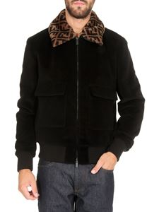 Fendi - FF motif collar bomber jacket in black