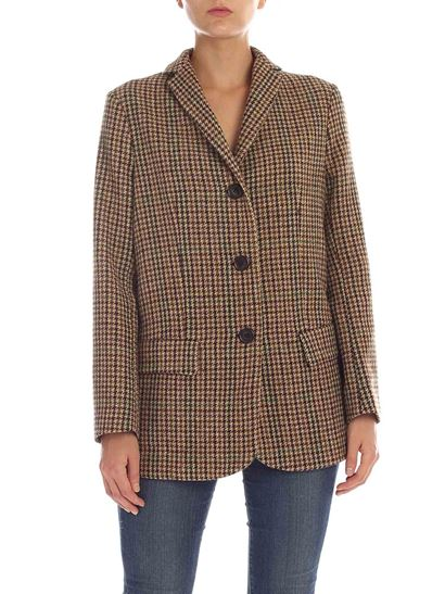 Aspesi - Houndstooth jacket in shades of brown and green