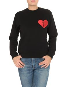 MSGM - Broken heart embroidery sweatshirt in black