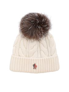 Moncler Grenoble - Berretto color avorio con pom-pon