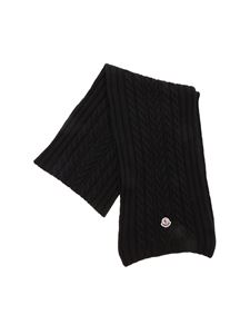 Moncler - Cable-knit scarf in black