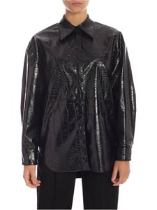 MSGM - Black reptile effect eco-leather shirt