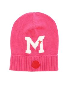 Moncler Jr - Fuchsia beanie with logo inlay