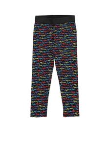 Stella McCartney Kids - Black leggings with multicolor monogram print