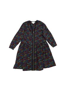 Stella McCartney Kids - Abito nero con stampa monogram multicolor