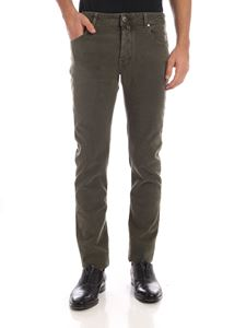 Jacob Cohën - Green trousers with tone on tone pattern