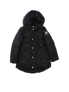 Moose Knuckles - Black padded parka jacket with black fur