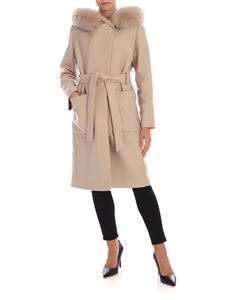 Fay - Beige coat with hood and fur