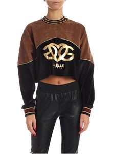 Gaelle Paris - Black and brown cropped sweatshirt with golden logo