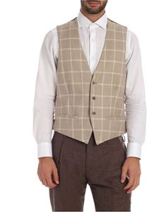 L.B.M. 1911 - Checked waistcoat in beige and grey