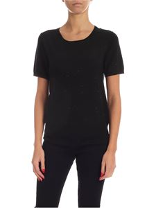 Kangra Cashmere - Micro sequins knit T-shirt in black
