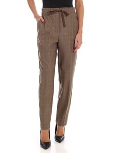 Ballantyne - Prince of Wales pattern trousers in camel color