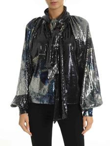 Ganni - Black sequin blouse with puff sleeves