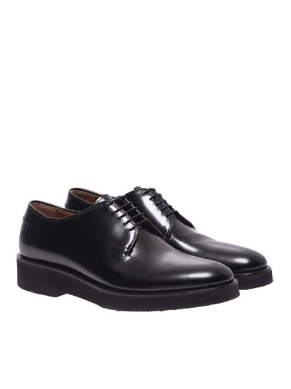 Premiata - Derby shoes in black brushed leather