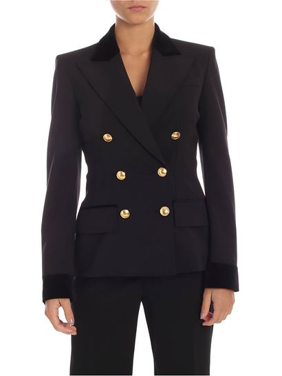 Alberta Ferretti - Double-breasted jacket in black with velvet details
