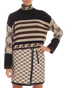 Alberta Ferretti - Striped crop pullover in brown, black and beige