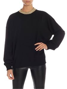 Paco Rabanne - Black pullover with golden neckline