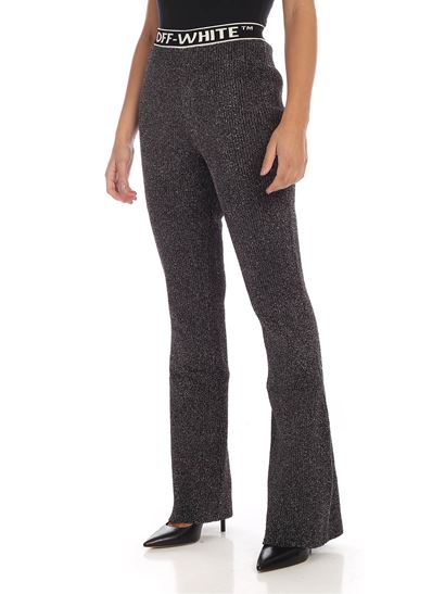 Off-White - Lamé flared trousers in black