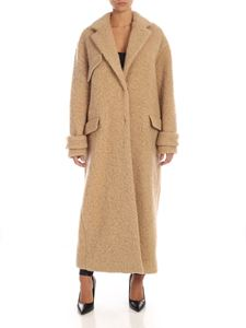 MSGM - Teddy-effect long coat in beige