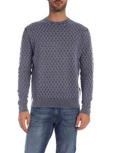 Ballantyne - Cable knitting pullover in pale blue color
