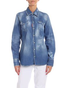 Dsquared2 - Destroyed effect shirt in light blue