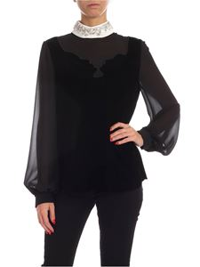 Vivetta - Jewel collar velvet blouse