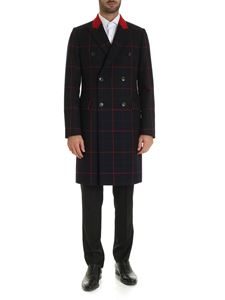 Paul Smith - Checked double-breasted coat in blue and red