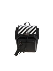 Off-White - Striped flap backpack in black
