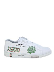 Kenzo - Sneakers low top bianche con stampe