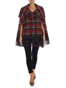 Gaelle Paris - Check print cape in grey and red
