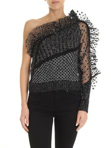 Alberta Ferretti - One-shoulder sweater in black with tulle volanat