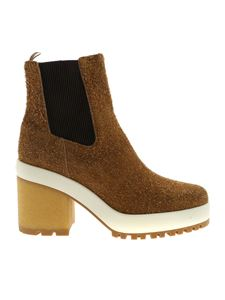 Hogan - H475 beige ankle boot with heel