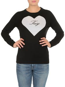 Fay - Fay heart intarsia pullover in black