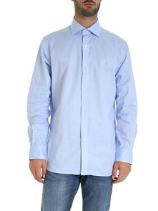 POLO Ralph Lauren - Logo embroidery shirt in light blue and white