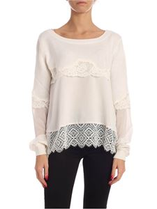Twin-Set - Lace sweater in cream color