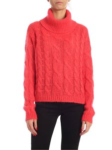 Twin-Set - Turtleneck pullover in coral red