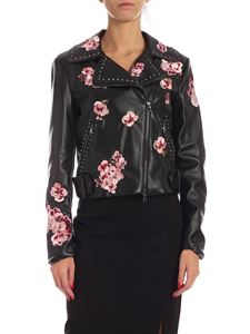 Twin-Set - Pink flowers embroidery jacket in black