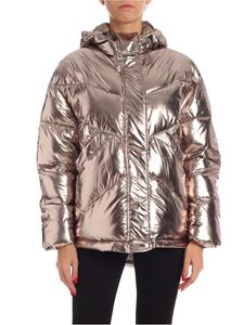 Twin-Set - Hooded down jacket in metallic platinum color