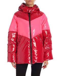 Twin-Set - Branded bands polish effect down jacket in red