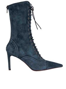 L'Autre Chose - Pointed boots in teal blue colored suede