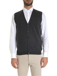 Fay - Virgin wool knitted vest in melange dark grey